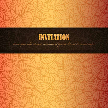 fall background: Autumn leaves invitation made of fancy paper