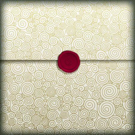 sceau cire rouge: Lettre spirale d'or avec cachet de cire rouge