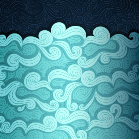 Curly water banner made of fancy paper Vector