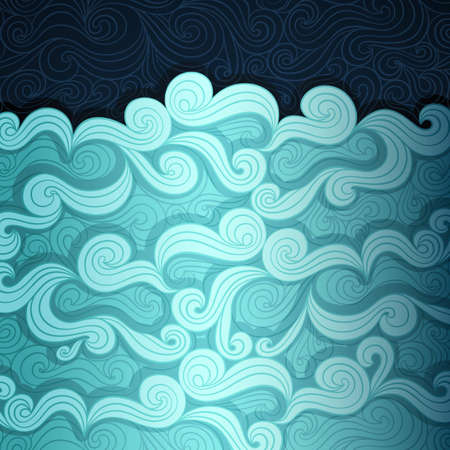 fancy design: Curly water banner made of fancy paper Illustration