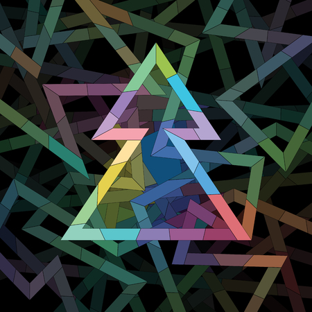 zag: Christmas Tree made of colorful geometric pattern Illustration