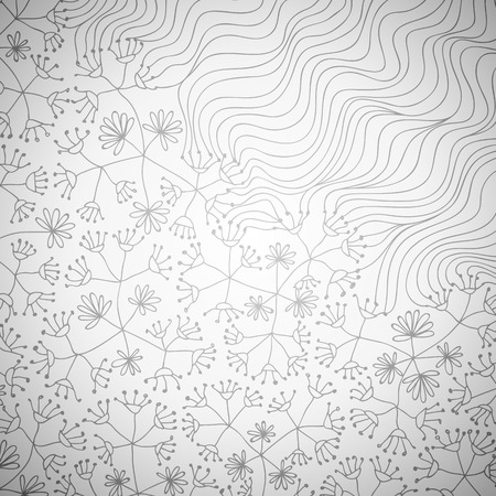linear art: Doodle background with flowers and waves