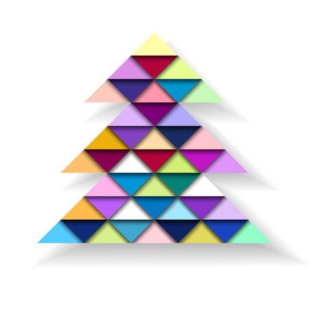 cuboid: Colorful Geometric Christmas Tree, vector eps10 illustration