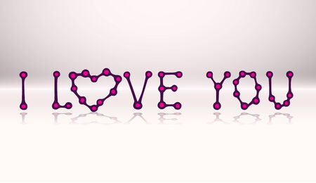 doodle text: I LOVE YOU, doodle text with reflection