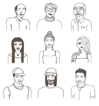 Set of doodle portraits.  Vector