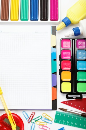 office and student accessories isolated over white background  Back to school concept