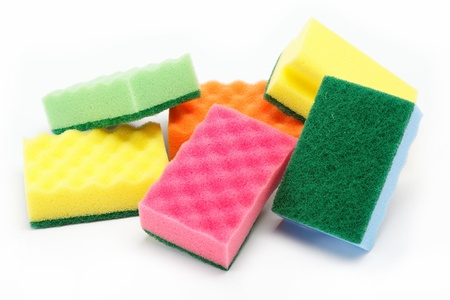 cleaning sponges on a white background. Stock Photo