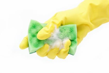 Hand met rubberen handschoen en spons op een witte achtergrond Stockfoto - 14842860