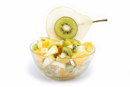 Fresh fruits salad on white background Stock Photo
