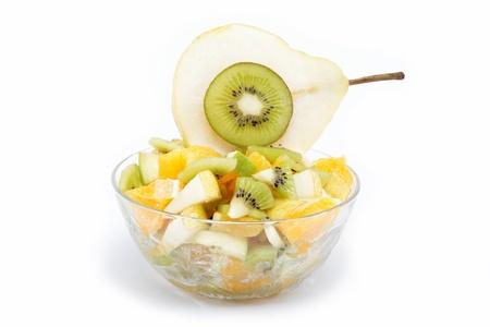 Fresh fruits salad on white background Stock Photo