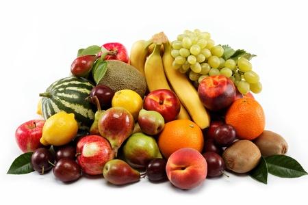 新鮮水果隔絕在一個白色背景。設置不同的新鮮水果。