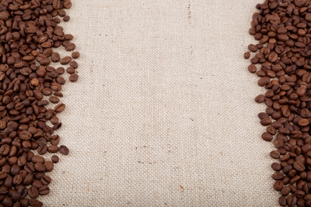 Coffee beans on sacking.