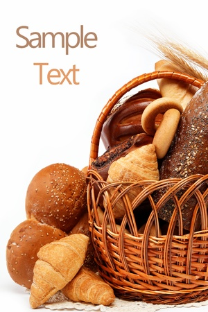 Fresh breads for a variety isolated on white. photo