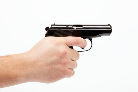 bond: Gun in hand on a white background.
