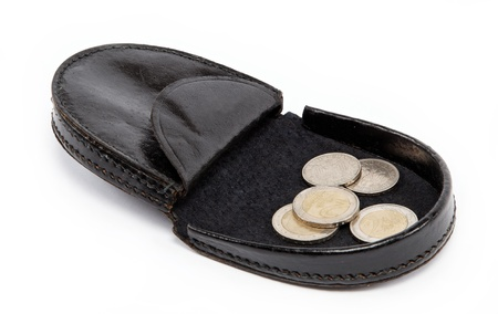 inherit: Black purse with metal coins on white background.