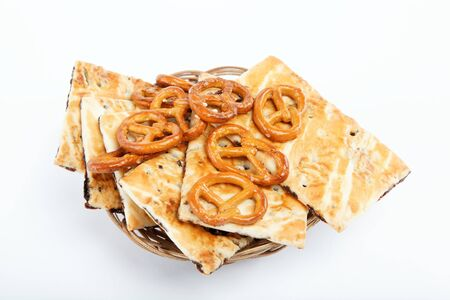 appetiser: Crispy cookies on a white background. Stock Photo