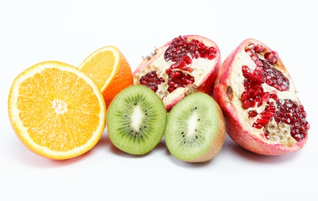 tropical fruits on a white background. photo