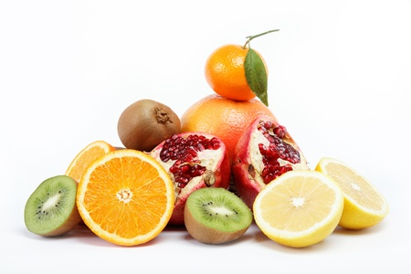 tropical fruits on a white background. Stock Photo - 15022401
