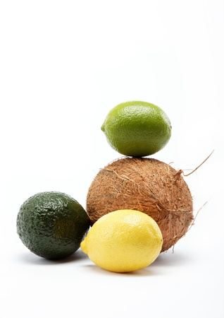 tropical fruits isolated on a white background. photo