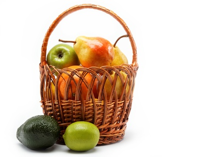 fruits in basket isolated on a white background. Stock Photo - 15051004