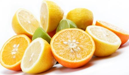 熱帶水果孤立在一個白色背景。 版權商用圖片