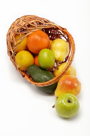 fruits in basket isolated on a white background. photo