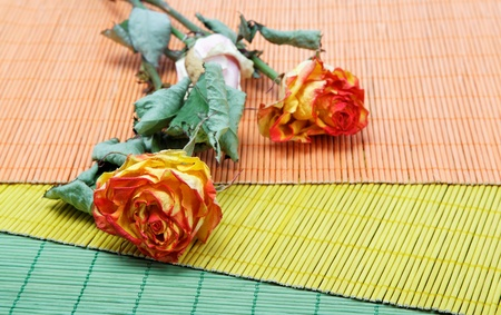 Dried roses on bamboo towels. photo