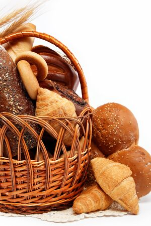 large variety of bread, still life isolate on white background photo