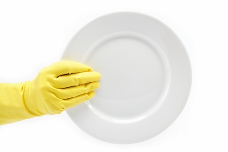 Hand in rubber glove with a plate on a white background  Stock Photo - 15167463