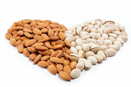 The image of the heart of the almond and pistachio nuts.