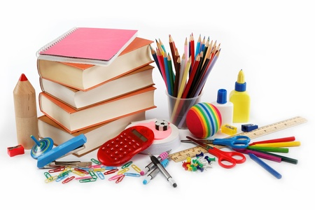 School and office supplies on white background. Back to school. photo