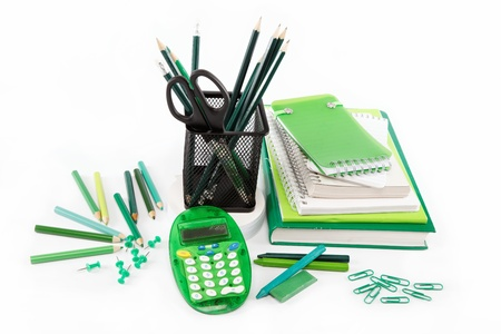 office and student accessories isolated on a white background  Back to school concept  photo