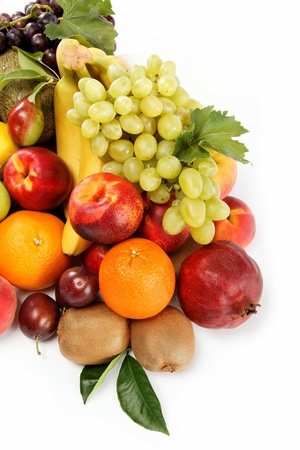 Fresh fruits isolated on a white background  Set of different fresh fruits  Standard-Bild