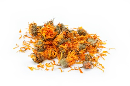 Herbs. Dried calendula or pot marigold flowers isolated on white background. Stock Photo - 15584154