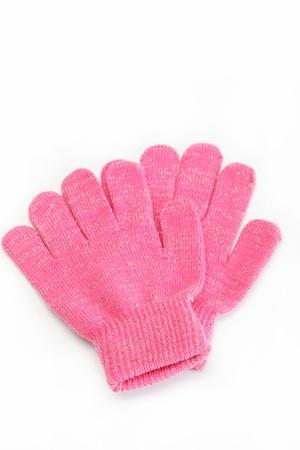 粉紅色的毛線手套,在白色背景孤立寒冷的冬季服裝 版權商用圖片