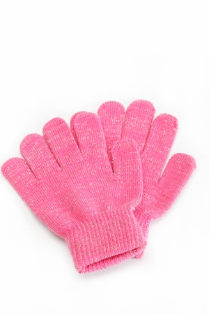 Pink woolen gloves, isolated on white background  Cold winter clothing