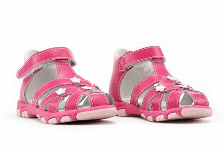 sandals isolated: Pink childs sandals isolated on white background.