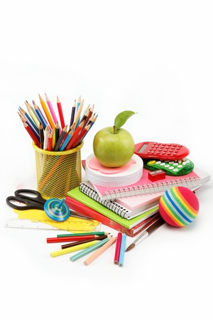 School and office supplies on white background, back to school photo