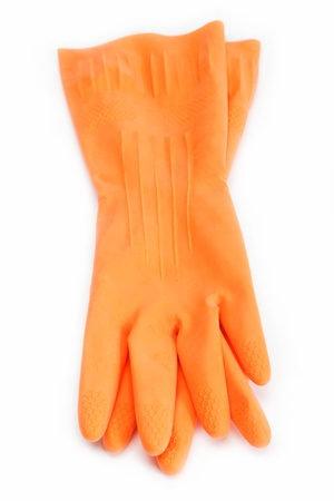 Rubber gloves on a white background. Stock Photo - 16002661