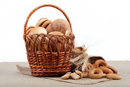Fresh bread with ears of wheat on the canvas Stock Photo - 16002546