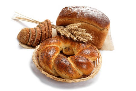 Fresh breads for a variety isolated on white background. Stock Photo - 16236759