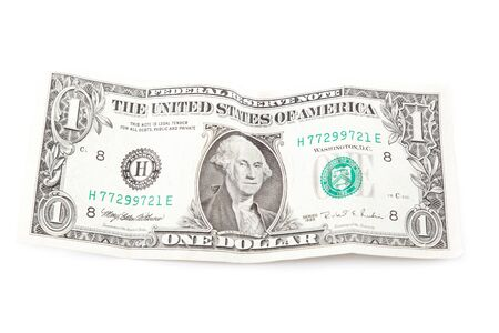 Right side of banknote one United States dollar isolated on white background. photo