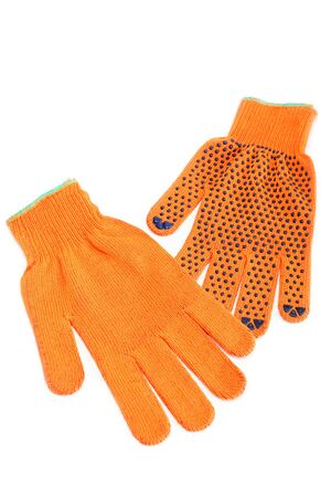 Orange work gloves isolated on white background. Stock Photo - 16236765
