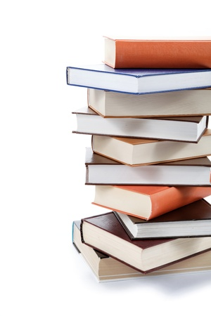 book binding: A stack of books on a white background. Stock Photo