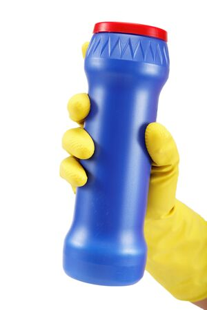 bright housekeeping: Hands in rubber gloves with a bottle of detergent on a white background.