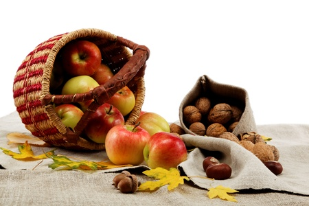 Autumn theme. Apples and walnuts on linen canvas. photo