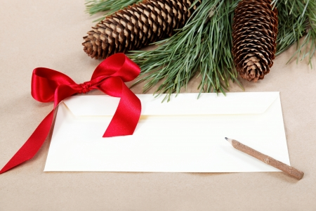 Christmas decorations, a blank and a pencil for congratulations. Stock Photo - 16858706