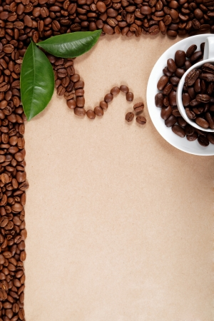 Cup with coffee beans.