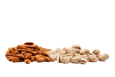 Almond and pistachio nuts isolated on white background. photo