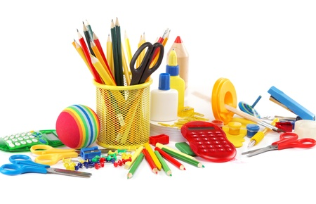 Office and student accessories isolated on a white background. Back to school concept. photo
